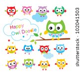 cute owl collection | Shutterstock .eps vector #102041503