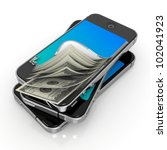 Smart Phone with Money. Mobile Payment Concept. - stock photo