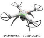 3d illustration of a drone with ... | Shutterstock . vector #1020420343