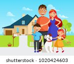 happy family move into a new... | Shutterstock .eps vector #1020424603