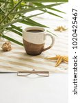 a cup of coffee and clipboard ... | Shutterstock . vector #1020425467