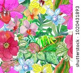 tropical flowers and leaves.... | Shutterstock . vector #1020431893