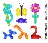 vector balloon animals set with ...   Shutterstock .eps vector #1020440287