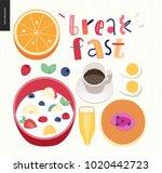 love  spring  breakfast... | Shutterstock .eps vector #1020442723