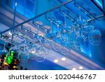 wineglasses and goblets hang... | Shutterstock . vector #1020446767