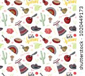 spain seamless pattern doodle... | Shutterstock . vector #1020449173