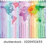 world time zones vector map... | Shutterstock .eps vector #1020452653