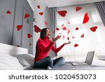 beautiful  happy  young woman... | Shutterstock . vector #1020453073