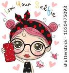 vector cute cartoon girl with... | Shutterstock .eps vector #1020475093