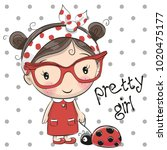 cute cartoon girl with glasses... | Shutterstock .eps vector #1020475177