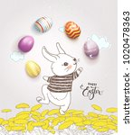 cute hand drawn bunny dressed... | Shutterstock .eps vector #1020478363