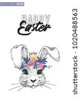 easter greeting card with silly ... | Shutterstock .eps vector #1020488563