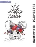 easter greeting card with bunny ... | Shutterstock .eps vector #1020488593