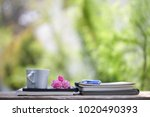white heart shape cup and... | Shutterstock . vector #1020490393