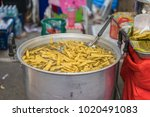 large pot of bamboo shoots...   Shutterstock . vector #1020491083