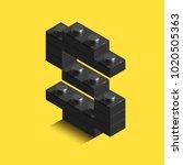 realistic 3d isometric letter s ... | Shutterstock .eps vector #1020505363