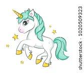 cute magical unicorn. vector...   Shutterstock .eps vector #1020509323