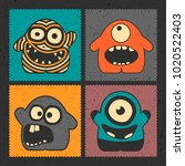 set of four funny monsters with ... | Shutterstock .eps vector #1020522403