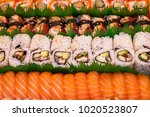 delicious seafood sushi at a... | Shutterstock . vector #1020523807