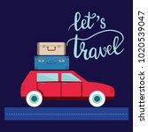travel car illustration with... | Shutterstock .eps vector #1020539047