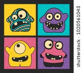 set of four funny monsters with ... | Shutterstock .eps vector #1020561043