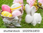 colorful  easter eggs in a...   Shutterstock . vector #1020561853