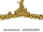 gold bingo balls fall randomly...   Shutterstock . vector #1020562693