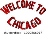 welcome to chicago text sign... | Shutterstock .eps vector #1020566017