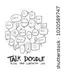 bubble speech doodle... | Shutterstock .eps vector #1020589747