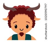vector cute male faun colorful... | Shutterstock .eps vector #1020590797