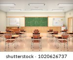 school classroom interior. 3d... | Shutterstock . vector #1020626737
