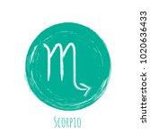 aquamarine circle scorpio... | Shutterstock .eps vector #1020636433