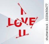 i love u arrows letters red... | Shutterstock .eps vector #1020650677