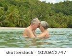 elderly couple  at tropical... | Shutterstock . vector #1020652747