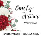 wedding floral invite ... | Shutterstock .eps vector #1020655837