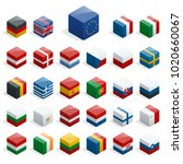 set of isometric boxes with... | Shutterstock . vector #1020660067