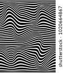 warped lines on black... | Shutterstock . vector #1020664867