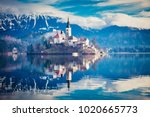 amazing view on bled lake ... | Shutterstock . vector #1020665773