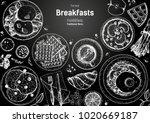 breakfasts top view frame....   Shutterstock .eps vector #1020669187