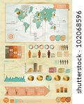 Set of infographics elements.Old paper texture. Vintage style design - stock vector