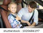 cute little daughter sitting in ... | Shutterstock . vector #1020686197