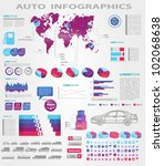 Modern infographics set. World Map and Information Graphics with car icons - stock vector