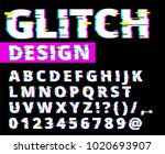 trendy style distorted glitch... | Shutterstock .eps vector #1020693907