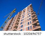 modern apartment building with... | Shutterstock . vector #1020696757