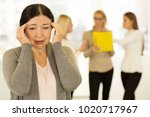 senior woman having headache at ... | Shutterstock . vector #1020717967