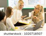 senior businesswoman smiling... | Shutterstock . vector #1020718507