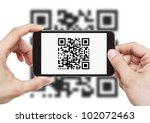 scanning qr code with mobile... | Shutterstock . vector #102072463