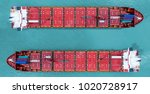 shipping cargo to harbor... | Shutterstock . vector #1020728917