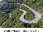 aerial view on road serpentine... | Shutterstock . vector #1020729313