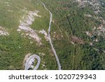 aerial view on road serpentine... | Shutterstock . vector #1020729343